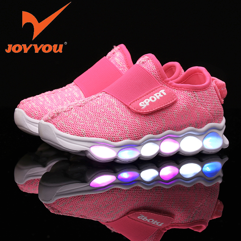 JOYYOU Brand Boys Girls Glowing USB Children Luminous Sneakers With Light Up Led School Footwear illuminated Teenage Kids Shoes 25 40 size usb charging basket led children shoes with light up kids casual boys