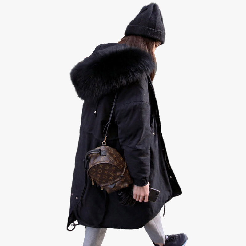 Autumn winter Loose Medium and long section Women s cotton clothing coat 2018 New Hooded Thick