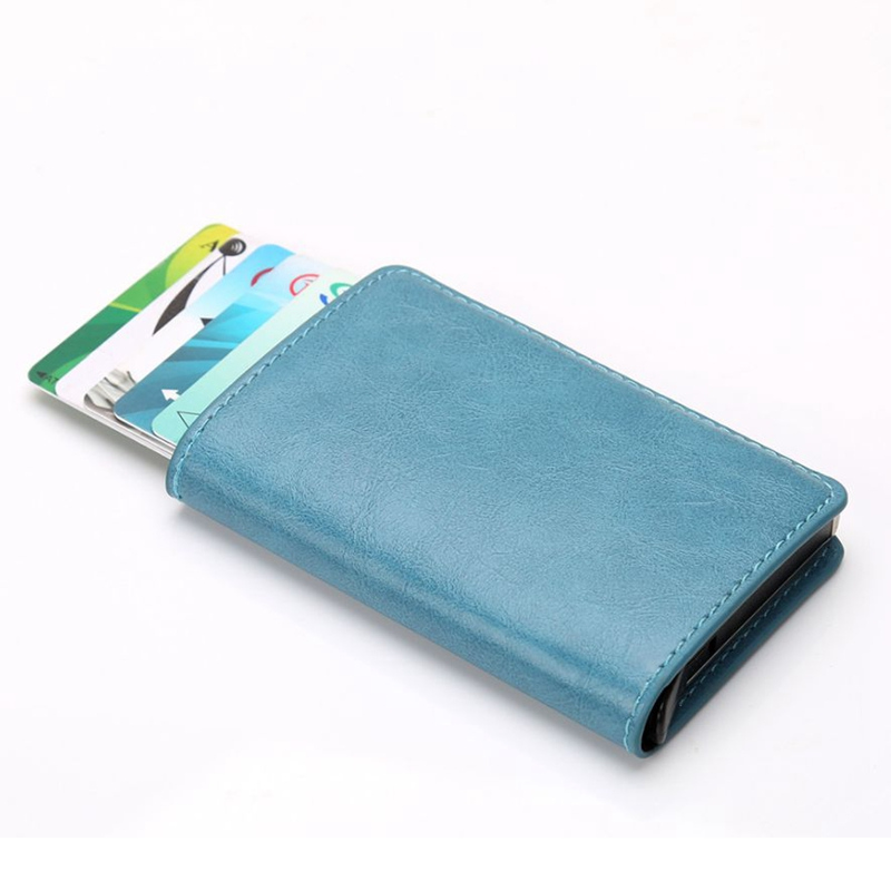 Hot Men Blocking Card Holder Business Leather ID Cash Credit Protector Purse Wallet Aluminium Automatic Slide ID Bank Card Case slide wallet