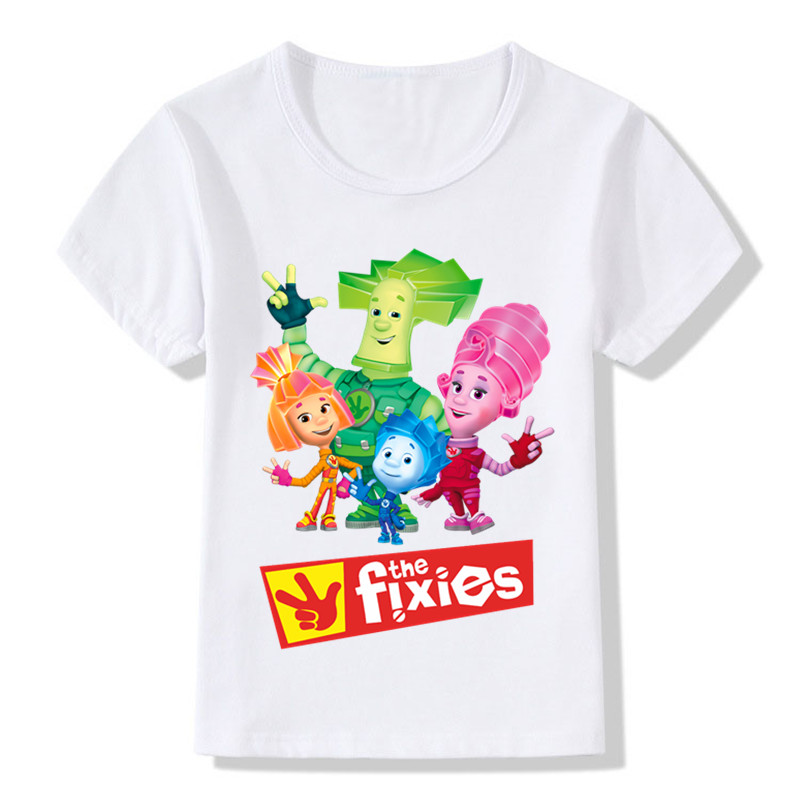 Children Russian Cartoon The Fixies Funny T shirt Boys Girls Short Sleeve Great Summer Tops Kids Casual Clothes,HKP5148
