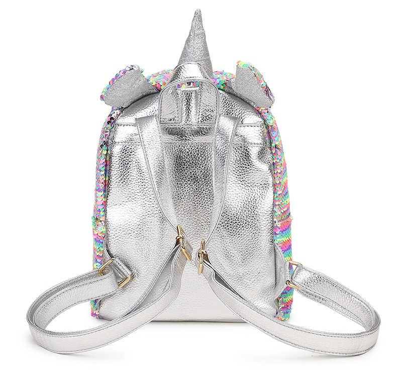 Высококачественные цветные блестки серебряный единорог Дизайн Pu молодой девушки рюкзак сумка для путешествий на молнии школьная сумка женская повседневная Mochila