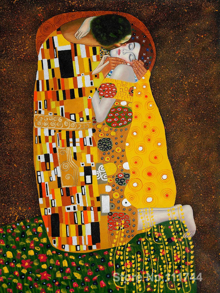 Famosas pinturas de Gustav Klimt el beso lona pintada a mano en oro ...