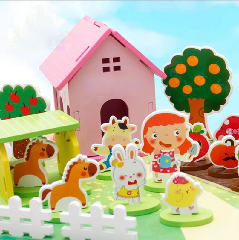 3d puzzle assembly happy farm animal vegetable models for Animal decoration games for girls