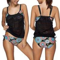 2017 Women Tankini Bikini Set Push Up Padded Swimsuit Bathing Suit Swimwear Beachwear Biquini
