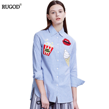 Rugod Cotton Women Tops and Blouses 2017 New Fashion polo Shirt Women White Striped Ice cream and floral embroidery Slim Blouse
