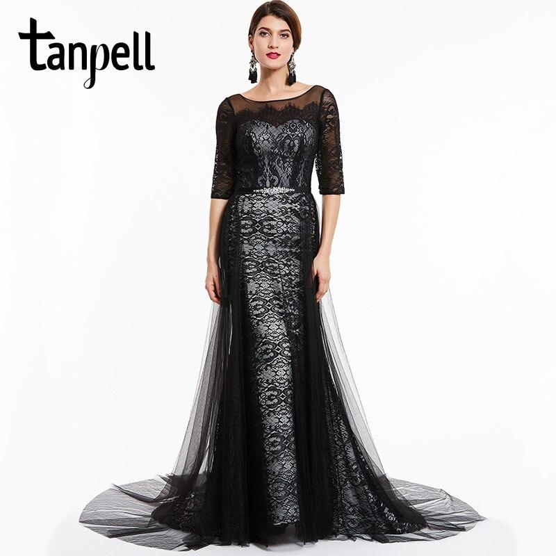 Tan필 법원 기차 이브닝 드레스 검은 바토우 넥 하프 슬리브 바닥 길이 라인 드레스 레이스 공식 파티 긴 저녁 가운