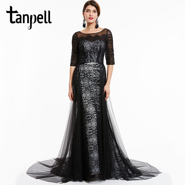 c33cf4fb16d53 Tanpell court train evening dresses black bateau neck half sleeves floor  length a line dress lace formal party long evening gown