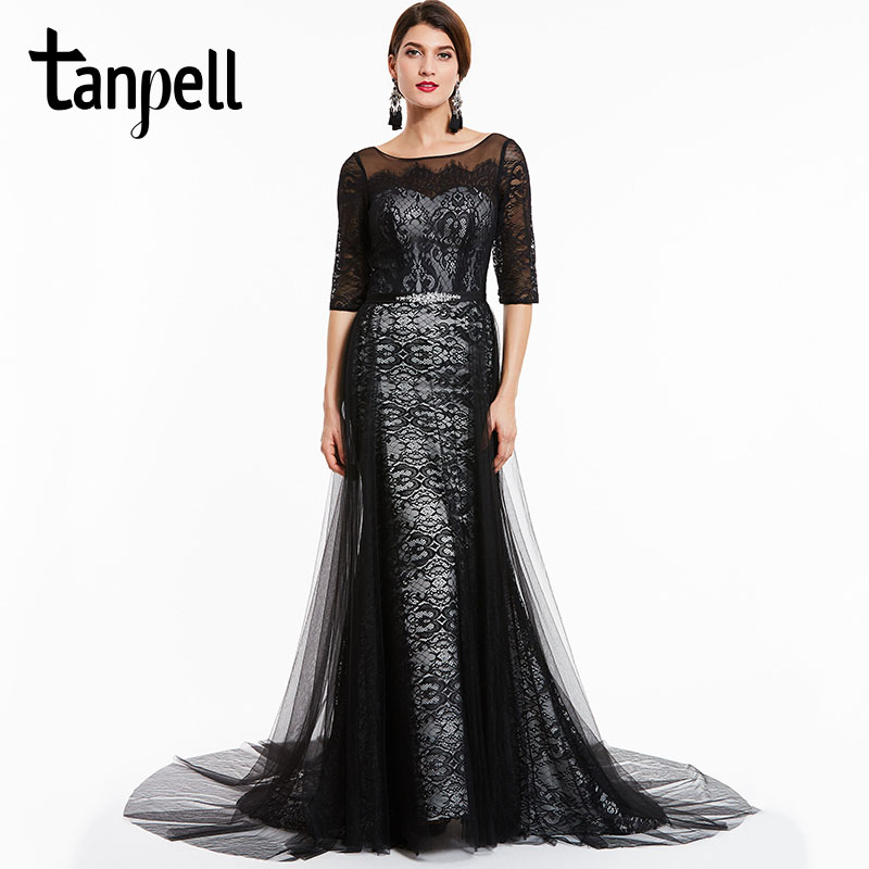Tanpell court train   evening     dresses   black bateau neck half sleeves floor length a line   dress   lace formal party long   evening   gown