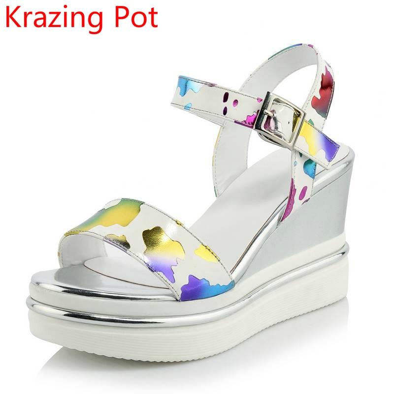 ФОТО 2017 New Superstar Flowers Platform Brand Shoes Ankle Strap Women Sandals Peep Toe Gradiator Wedges High Heels Summer Shoes 7-1