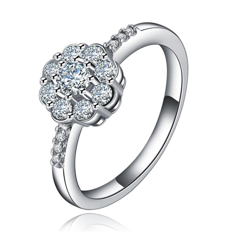 flower wedding rings aaa cubic zircon vintage engagement rings women crystal ring jewelry bague femme - Flower Wedding Rings