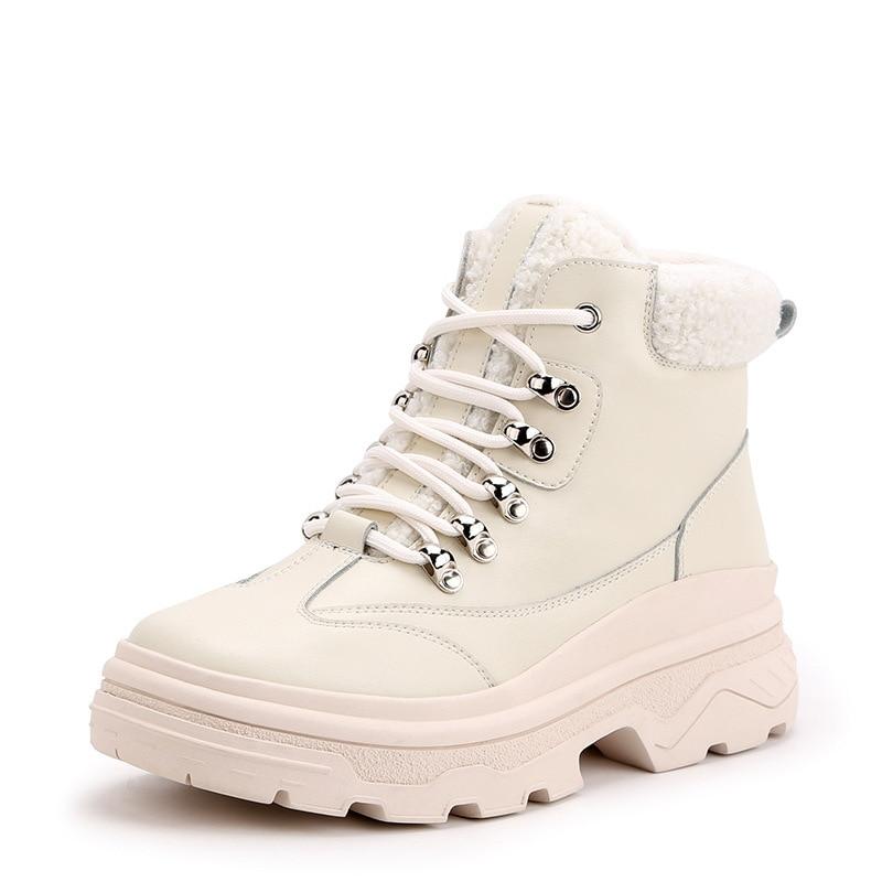 Martin Mujer Chaussure Femelle Beige Chaud Bottes Dame Femmes attaché Hiver Casual Botas noir Jookrrix De Mode Chaussures 2018 Croix Marque 3AR5jL4