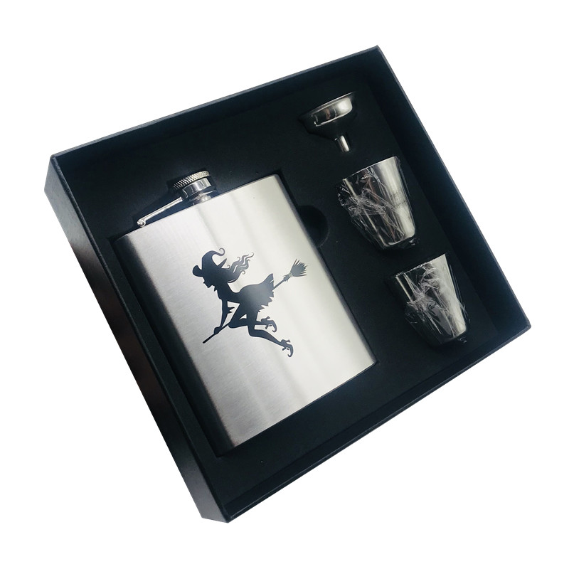 New arrival bpa free 7oz whisky Imprint flagon cccp Stainless steel alcohol hip flask Easter gift set with black box