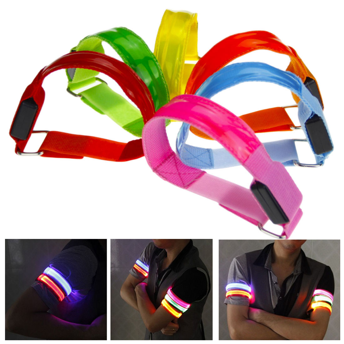 Arm Warmer Belt Bike LED Armband LED Safety Sports Reflective Belt Strap Snap Wrap Arm Band Armband Light