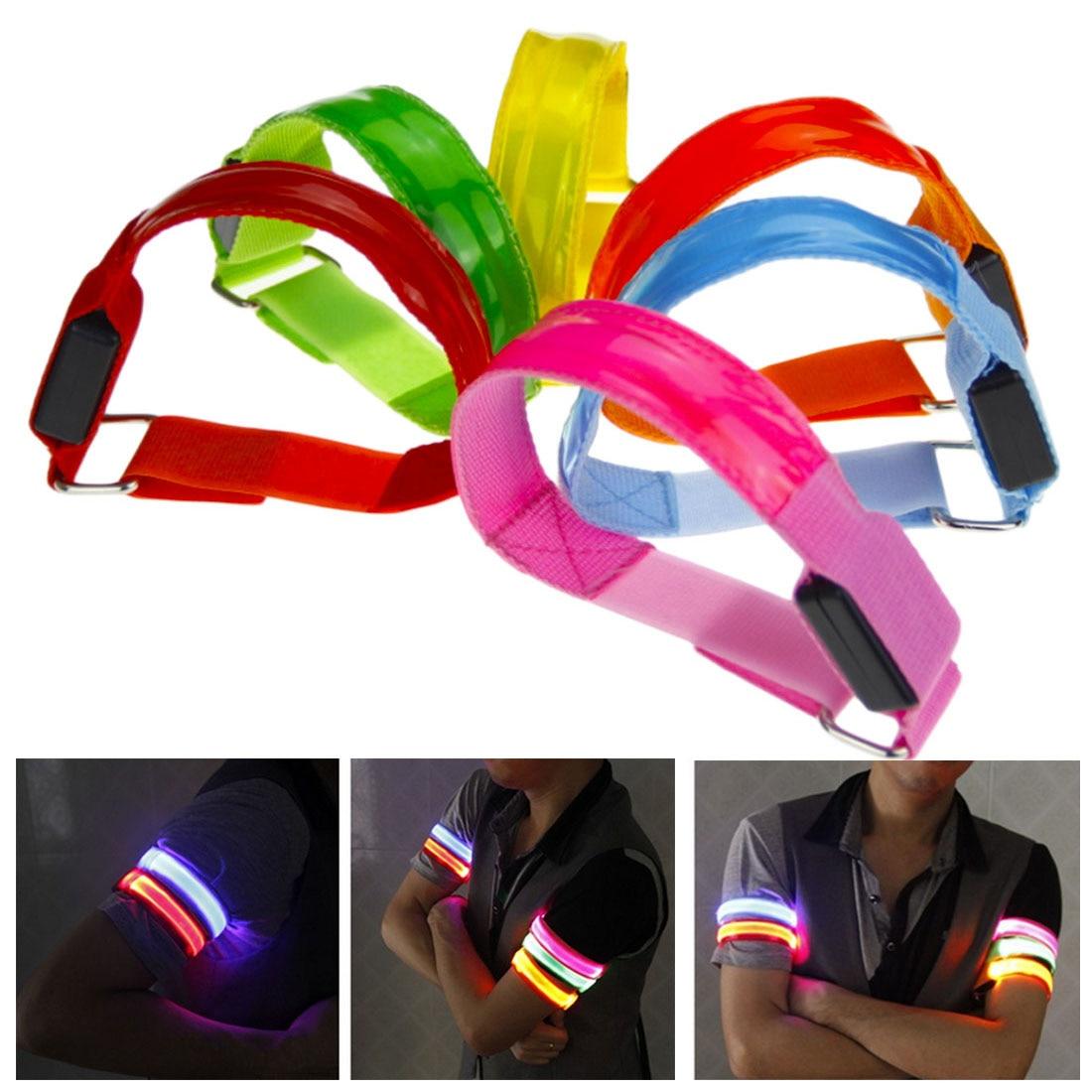 Arm Warmer Belt Bike LED Armband LED Safety Sports Reflective Belt Strap Snap Wrap Arm Band Armband Light