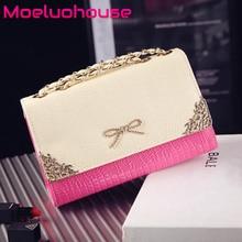 Moeluohouse Bow Women Girl Shoulder Crossbody Messenger Bag Flap Chain String Cover Hasp PU Korean Style Kawaii Cute Gift bow decor flap pu bag