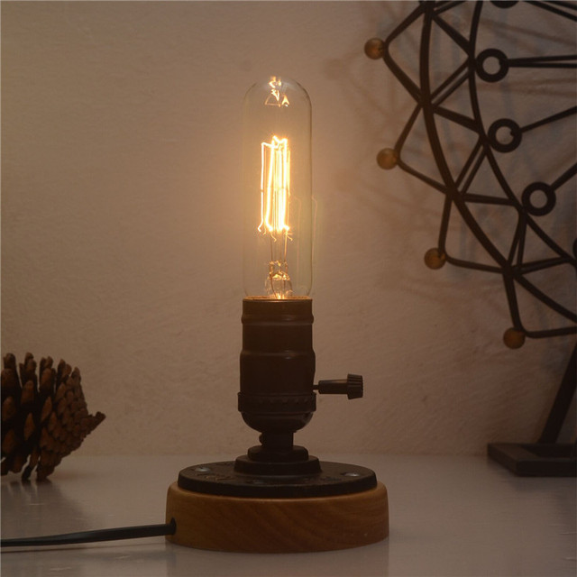 Vintage Table Lamps Bedroom Desk Light Wooden Base Edison Lamp For