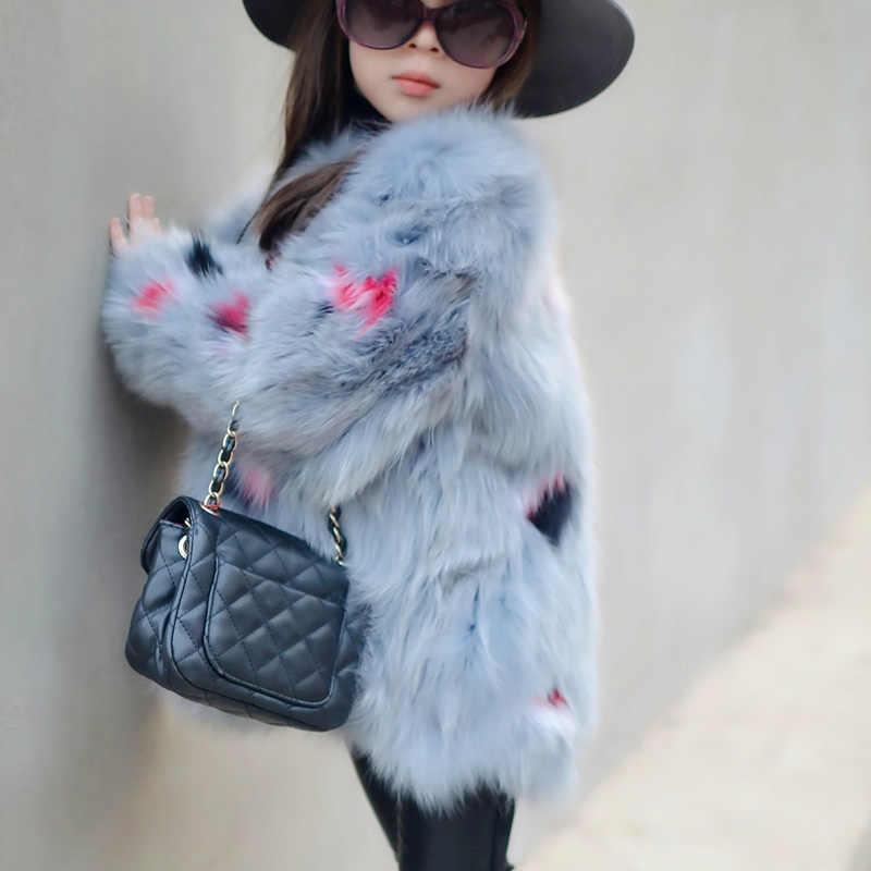 Abrigo de piel de zorro Real para niños niñas Otoño Invierno grueso abrigo largo de piel de zorro abrigo de cuello redondo sólido para niños