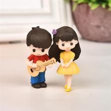 1 пара милый дорогой влюбленные пара статуэтки миниатюра поделки с гитара орнамент фея сад декор дом украшение аксессуары