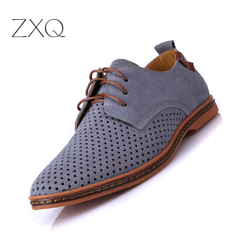 New Fashion Summer Breathable Suede Leather Men Casual Shoes Comfortable Leather Men Shoes Big Size EU 38-48