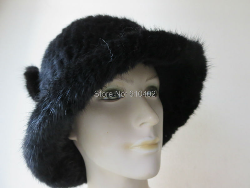 free shipping Lady s Genuine Real Mink Fur hand made knitted Top Hat black