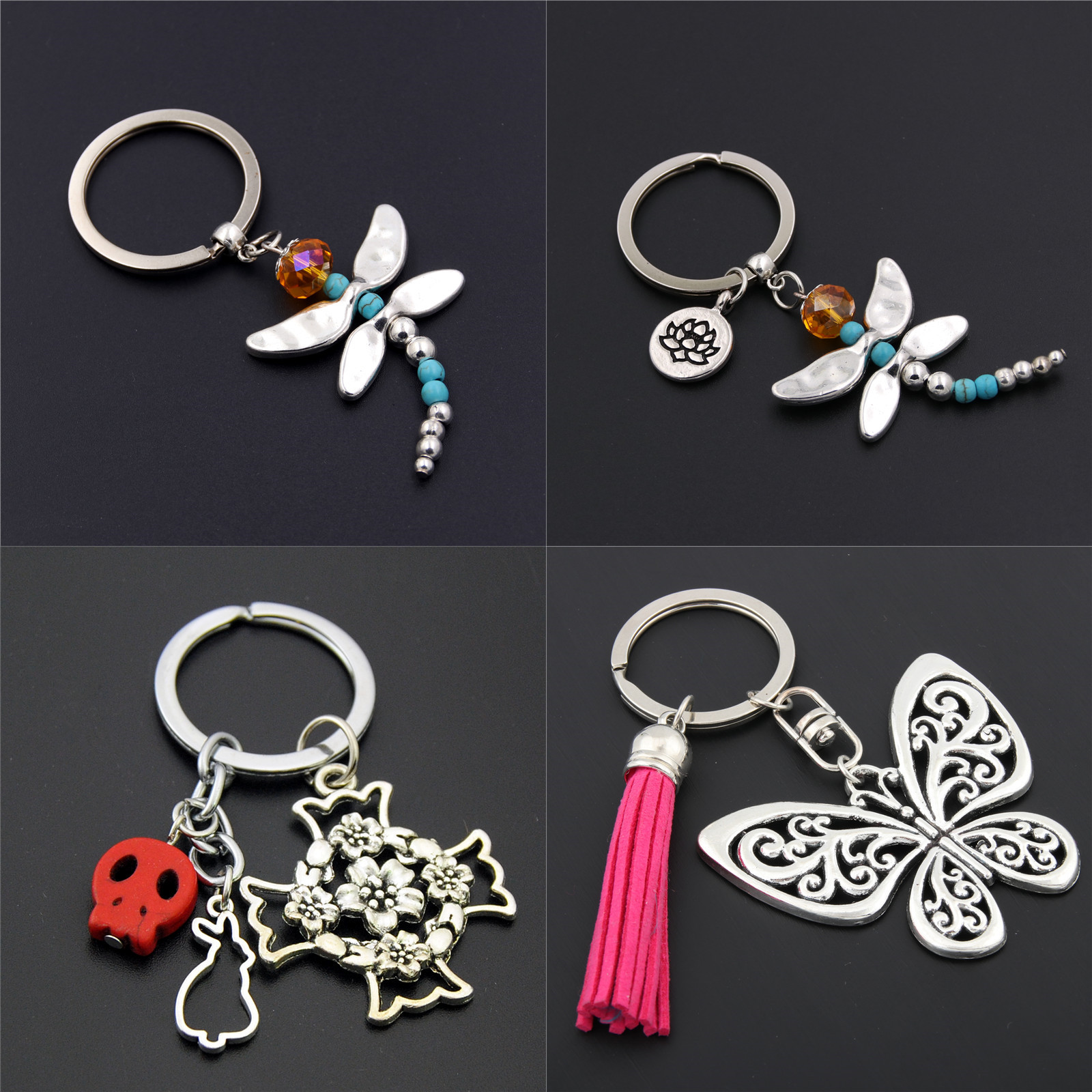 1pc Dragonfly Charms With Lotus Keychains Cross Keyring Butterfly Pendant Key Chain For Women Animal Jewlery