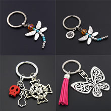 1pc Dragonfly Charms With Lotus Keychains Cross Keyring Butterfly Pendant Key Chain For Women Animal Jewlery(China)