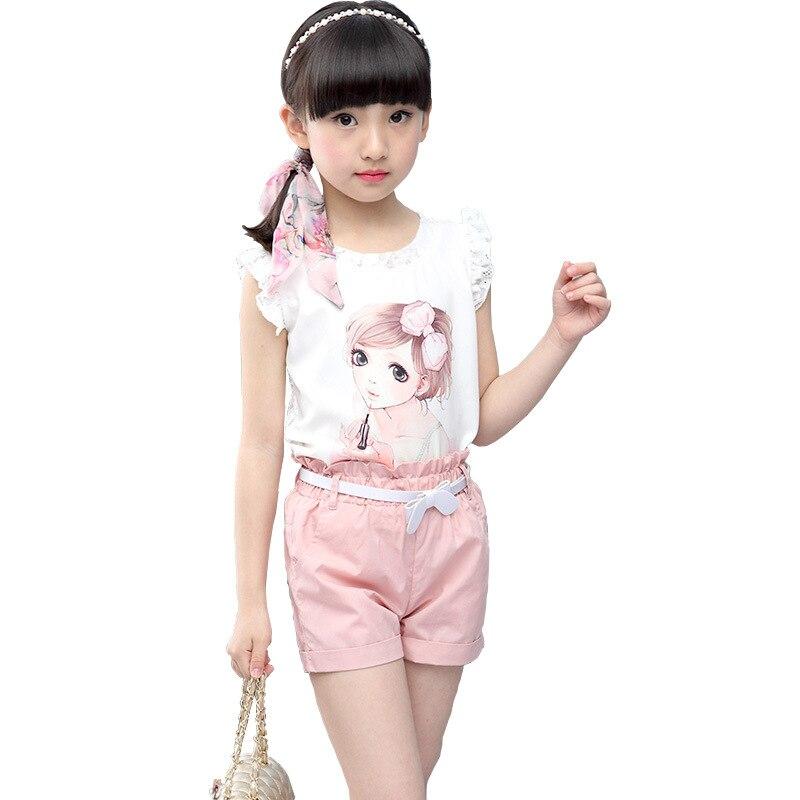 Children Ladies Garments Set 2019 Summer season Lace Print Shirt+Shorts 2 PCS Princess Costume Ladies Summer season Clothes Units four 6 8 10 11 Years Clothes Units, Low-cost Clothes...