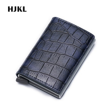 купить Business id Credit Card Holder Rfid Blocking Anti Wallet Leather Pocket Cardholder Security Aluminum Bank Card Protection Wallet дешево