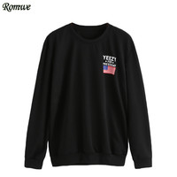 ROMWE 2016 New Arrival Fashion Tops Autumn Women Black Round Neck Long Sleeve American Flag And