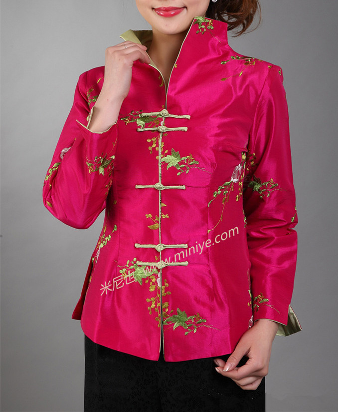 Hot Pink Tradicionales de Las Mujeres Chinas de Satén de Seda Bordado Chaqueta d