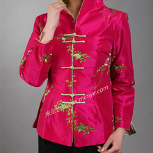2a87c0a6b10 Hot Pink Traditional Chinese Women's Silk Satin Embroidery Jacket Coat  Flowers Size S M L XL XXL XXXL