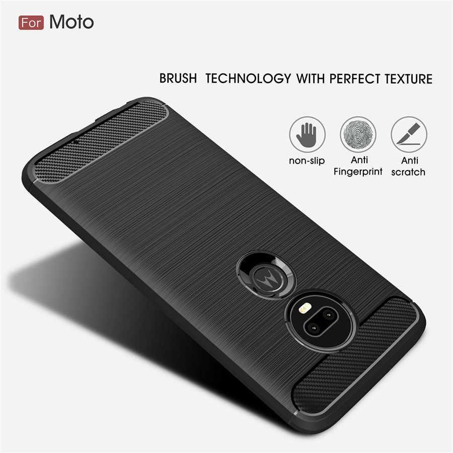 Chống Sốc Ốp Lưng Điện Thoại Motorola G5 E6 Da Ốp Lưng MOTO G5s Plus G7 G4 Plus G6 Chơi Sợi Carbon TPU ốp Lưng Điện Thoại Trường Hợp