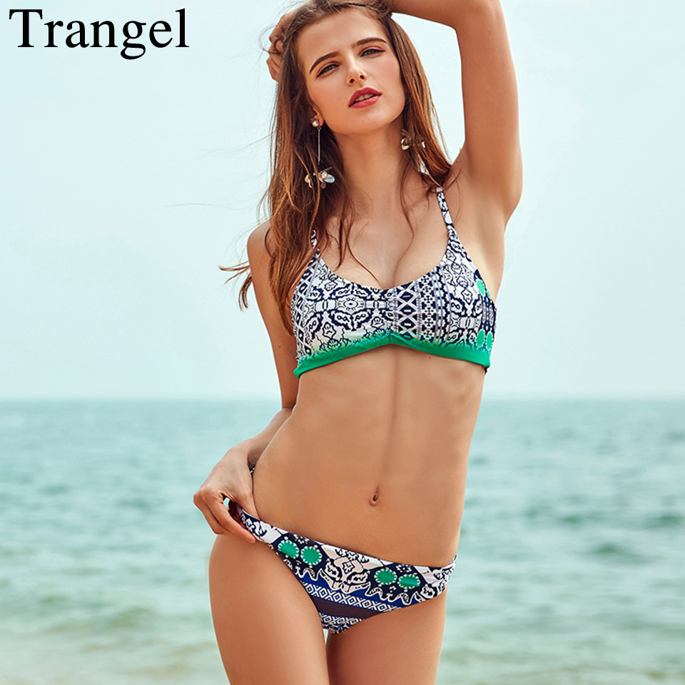 Trangel Push Up Swimwear Sexy Bikinis Women Swimsuit 2017 print Brazilian Bikini set Bandeau Summer Beach Bathing Suit Biquini tcbsg bikinis 2017 sexy swimwear women swimsuit push up brazilian bikini set bandeau summer beach bathing suits female biquini