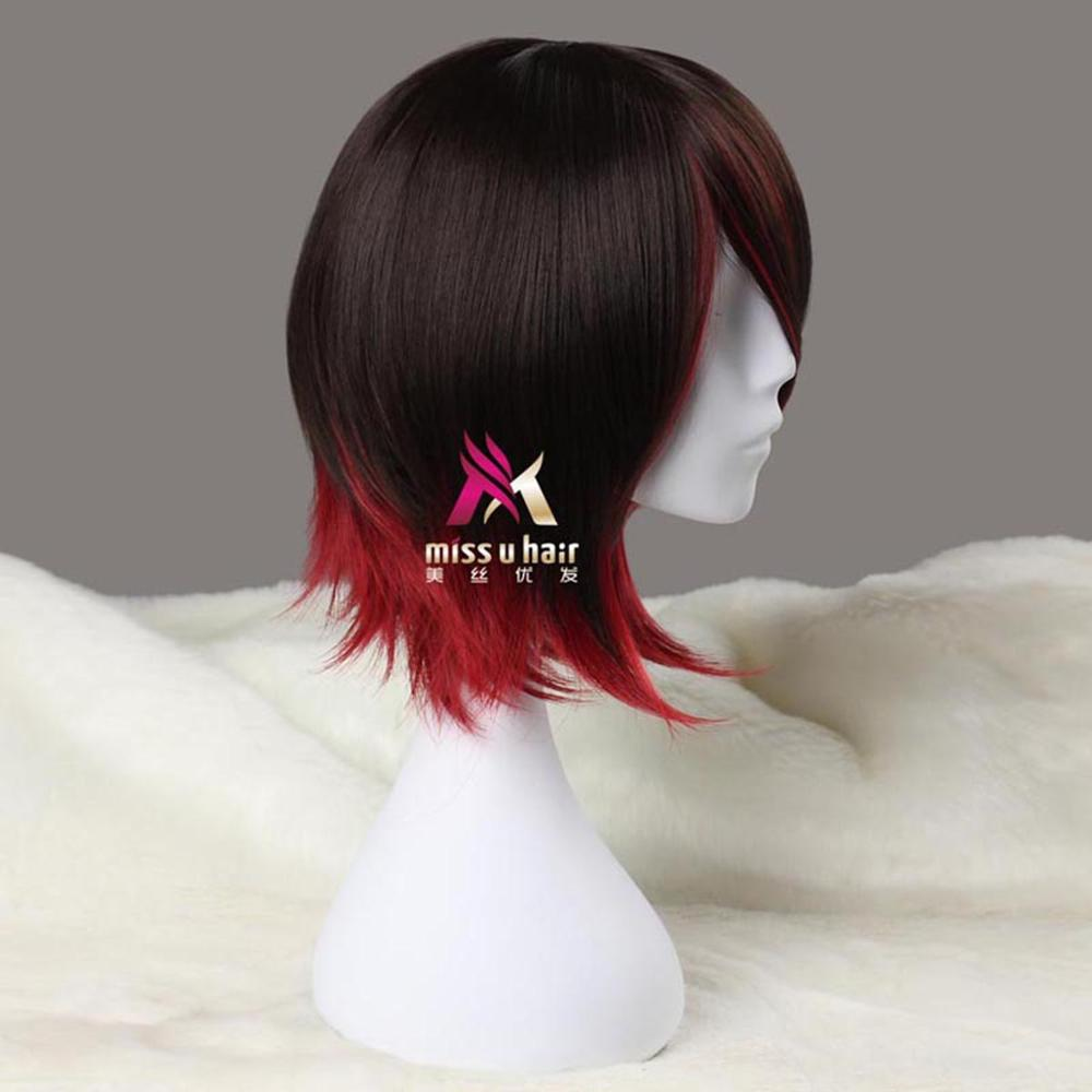 Image 2 - Miss U Hair Synthetic Short Straight Black Brown and Red Purple Black White Blond Halloween role play Cosplay Costume Wigshair synthetichair hairwig wig -