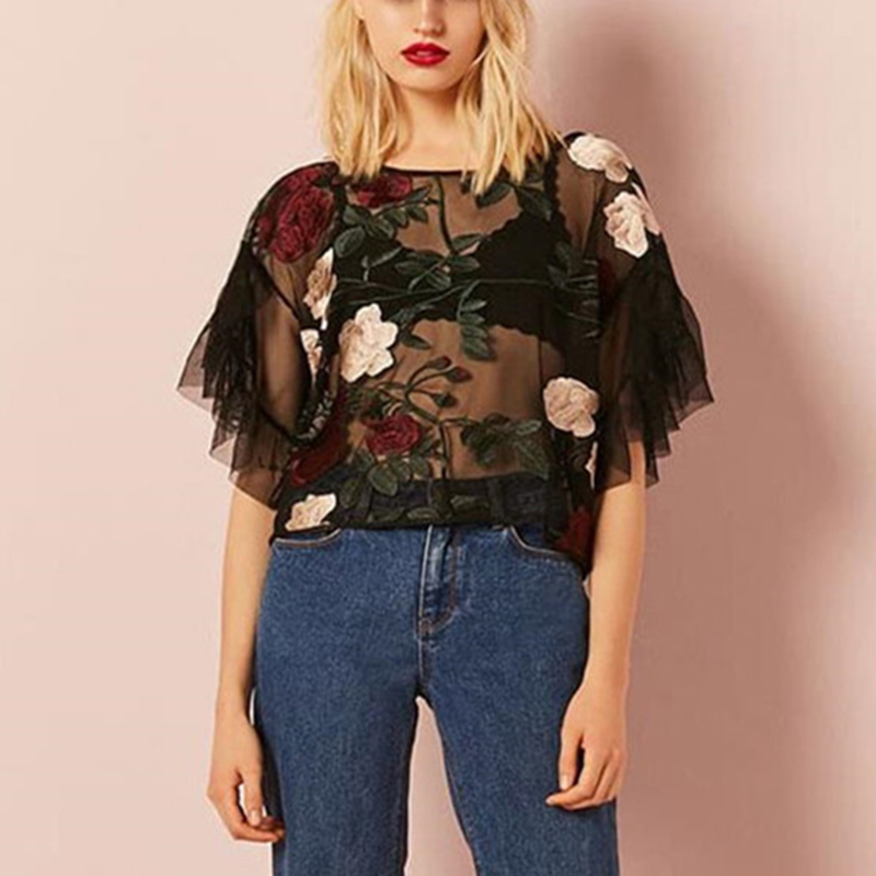 New Women Sexy Club Party Casual Short Falbala Floral Embroidery O-Neck Half Ruffle Sleeve Vintage Tulle Tops T-shirt