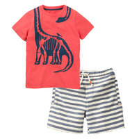 New style Cool boy outfits dino print boutique summer shorts clothes set