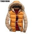 Diseño con capucha de Los Hombres Parka Tamaño M-3XL Casual & Fit Hombre Abajo Chaqueta de Invierno Chaqueta de Los Hombres Del Collar Del Soporte Grueso
