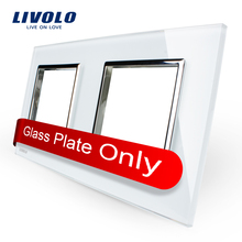 Livolo Lujo de Perlas de Cristal Blanco, 150mm * 80mm, estándar de LA UE, Vidrio doble Panel de Interruptor De Pared y Zócalo, VL-C7-SR/SR-11