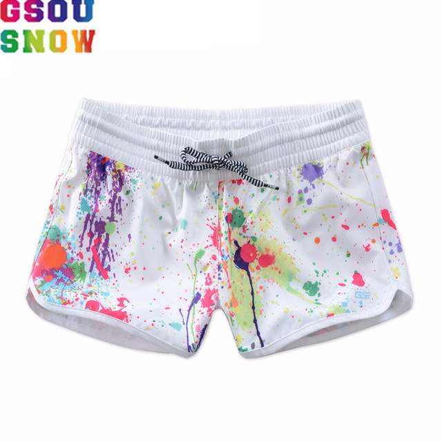 Gsou Snow Brand Summer Beach Shorts Women High Waist Graffiti Printed Female Fitness Swimwear Lady Diving Surfing Bikini Bottoms