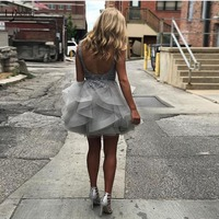Sexy Silver Backless Lace Mini Cocktail Dresses Appliques Beaded Sequined Short Party Dresses Ruffles Robe Cocktail Off Shoulder