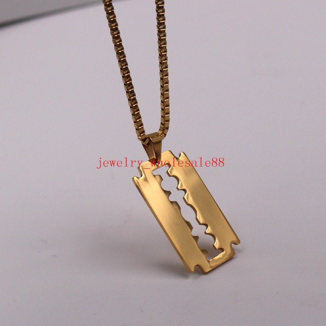 Fashion mens gold stainless steel razor blade dog tag pendant 24 fashion mens gold stainless steel razor blade dog tag pendant 24mm box chain necklace 18 thecheapjerseys Choice Image