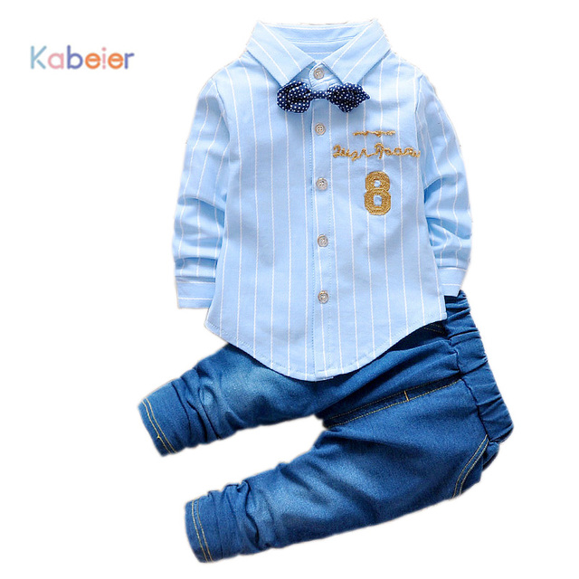 14dbc8b96a Formal Clothes For Baby Boys Festive Costume Child Jeans+Striped Shirts  2PCS Set Spring Boy Wedding Clothing Sets Free Shipping