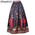Neophil 2016 Boho Largo Indio Étnico Impreso Floral Maxi Faldas de Las Mujeres Negro Blanco Satén Plisado Piso-Longitud Jupe Longue MS08002