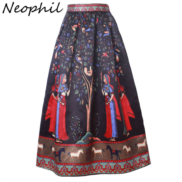 Neophil 2016 Boho Long Ethnic Indian Floral Printed Maxi Women Skirts Black White Pleated Satin Floor Length Jupe Longue MS08002