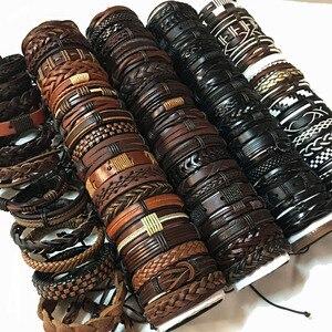 Image 3 - ZotatBele 50 sztuk/partia Handmade męska mieszane style plecione skórzane bransoletki mankietów biżuteria (wyślij losowo 50 sztuk bransoletki) MX3