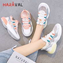HARAVAL fashion breathable mesh sneakers summer elastic knitting shoes woman Comfortable soft bottom casual running shoes N91