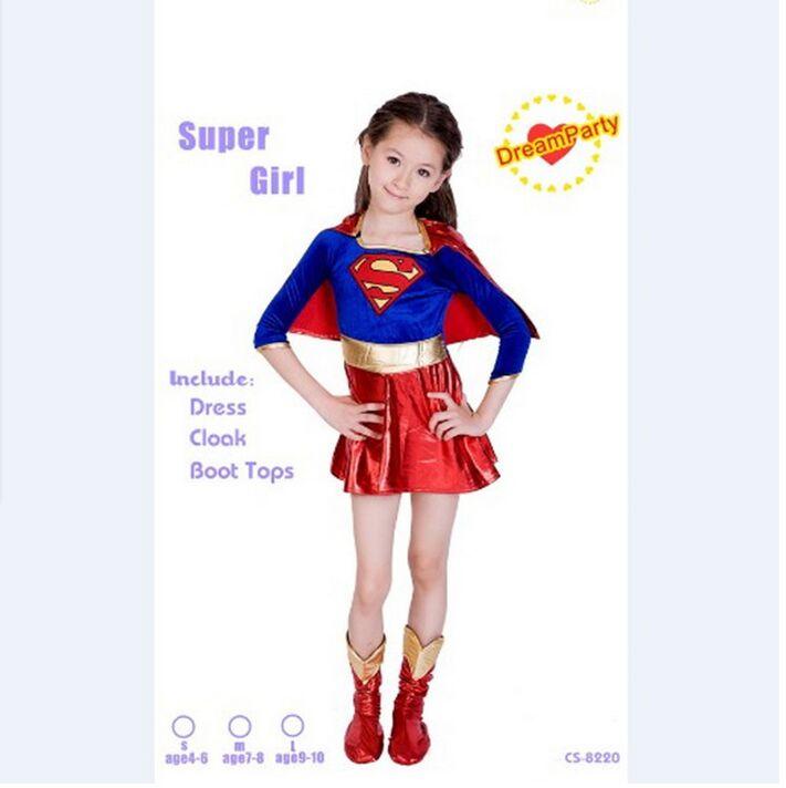 2018 új gyermek supergirl Szexi lány szuperhős jelmez szuper lány jelmez gyerekek superman ruha halloween party