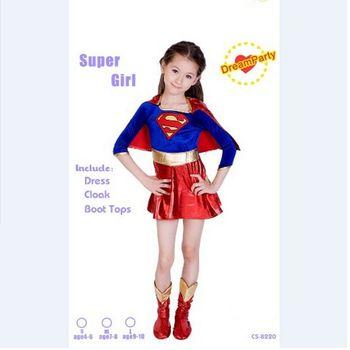 2018 new child supergirl Sexy girl super hero costume super girl costume kids superman dress for halloween party