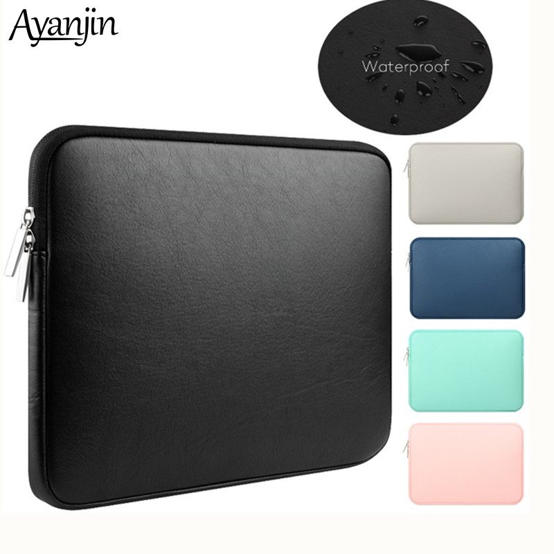 Soft PU Leather For Macbook Air 13 Pro Retina 11 12 14 Inch Notebooks Laptop Case 13.3 15 Touch Bar Waterproof Pouch Sleeve Bag