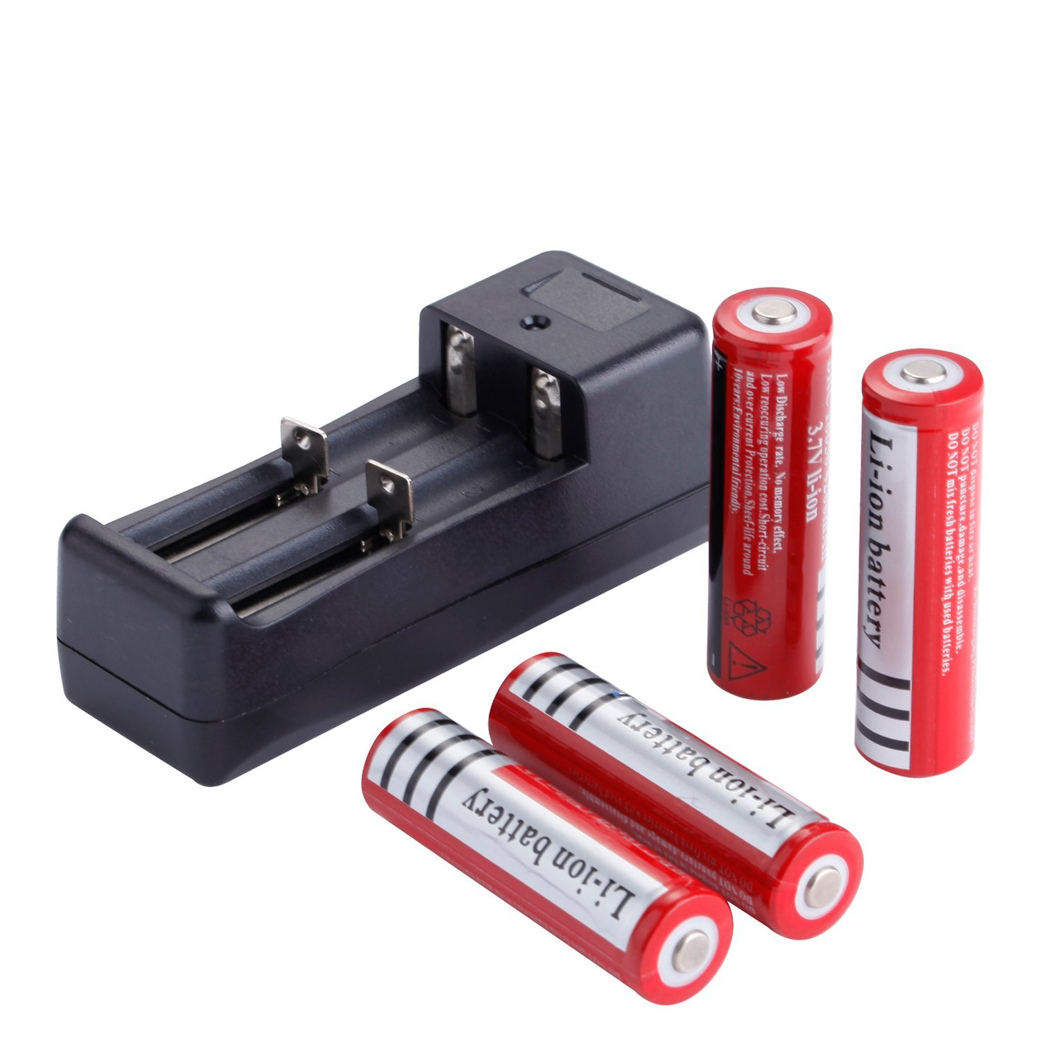GTF 4PCS Rechargeable Lithium li-ion 18650 Batteries 3.7V 4200 mAh Battery18650 Charger US/EU/ Plug )